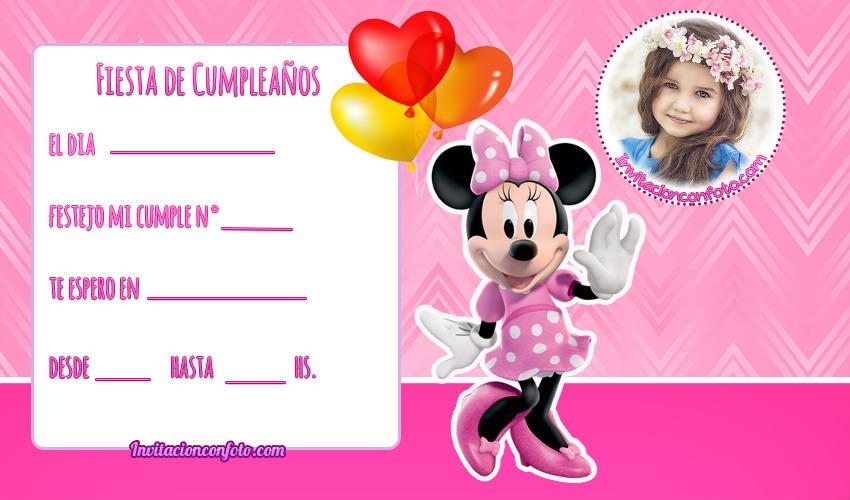 Minnie tarjetas con Foto - Minnie invitaciones con Foto