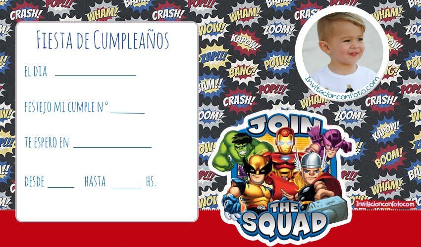 Invitaciones de cumpleanos de Marvel Super Hero