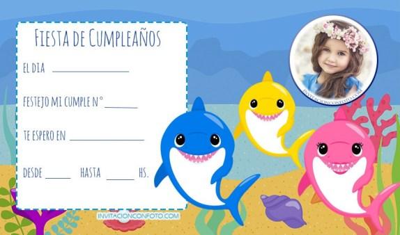 Baby Shark invitaciones cumpleanos - tarjetas de baby shark cumpleanos