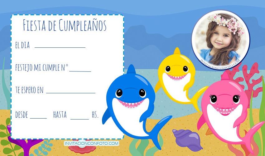 Invitaciones De Cumpleaños De Baby Shark Con Foto