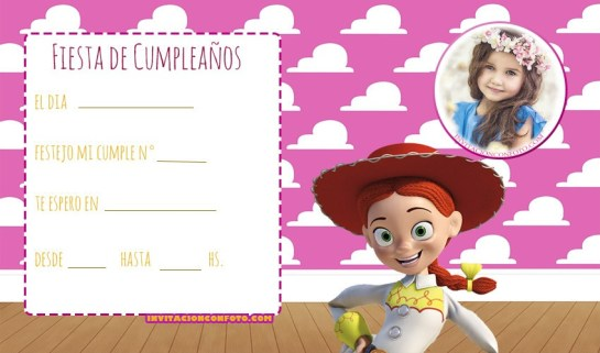 Tarjeta de Cumpleanos Toy Story ninas - Invitaciones cumpleanos toy story 4 jessy vaquerita