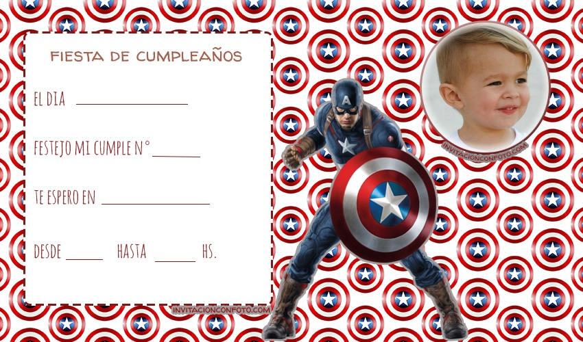 Capitan america invitaciones de cumpleanos