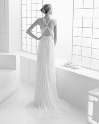 Vestido novia espalda tiras Rosa Clará