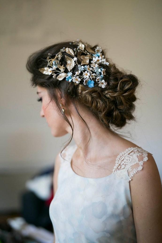 Peinado con tocado novia Monica Roldan India Tocados