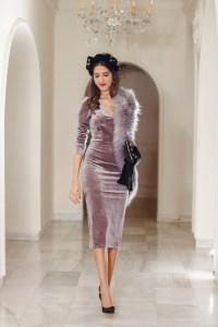 Invitada perfecta boda mañana vestido terciopelo lila