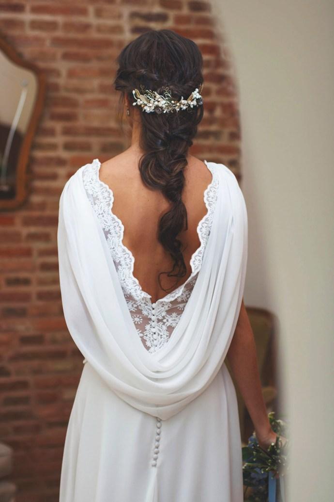Peinado novia trenza tocado