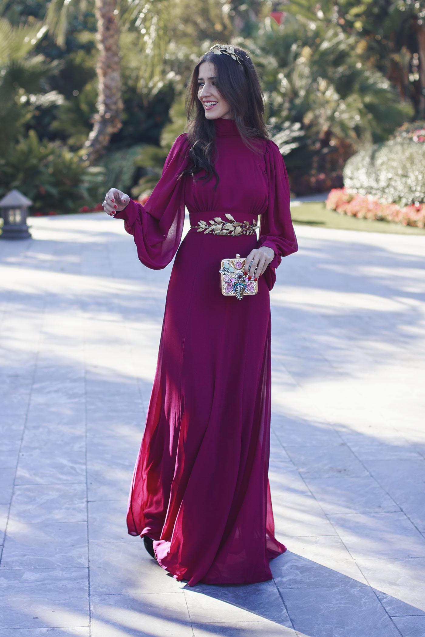 Vestido largo para boda de noche con cinturón 32 | Invitada Perfecta