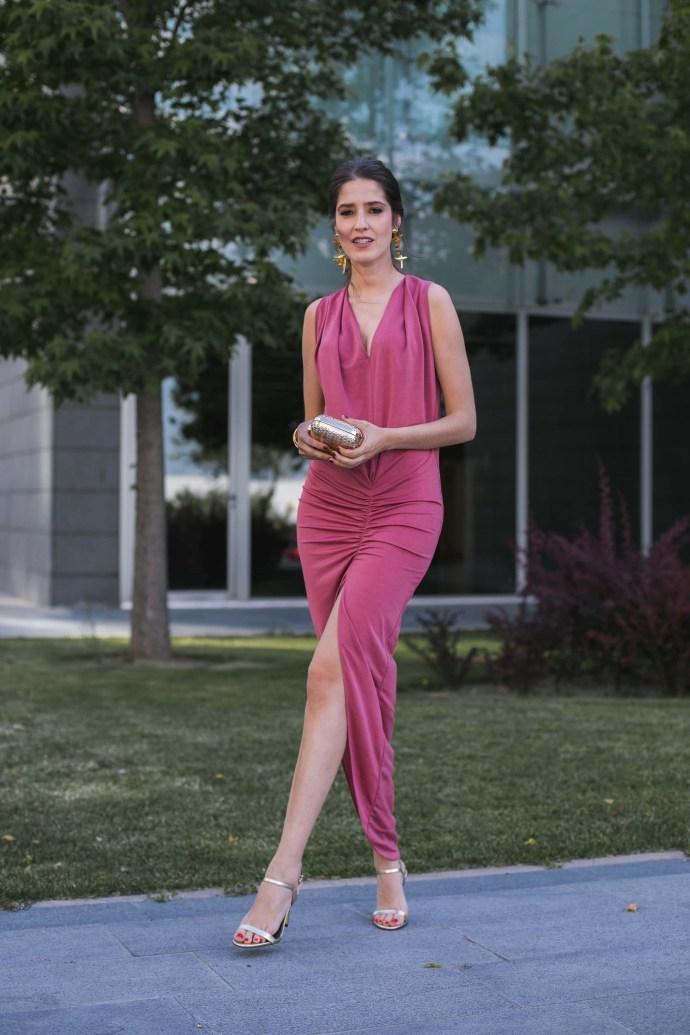 Vestido largo rosa ajustado Lola Li