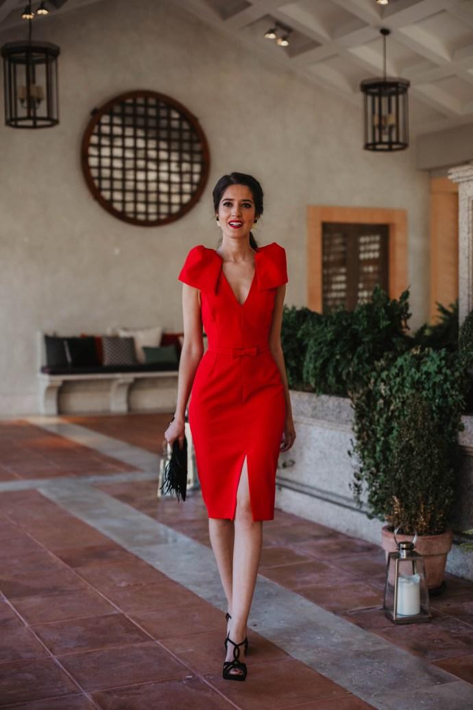 vestido rojo ajustado invitada boda