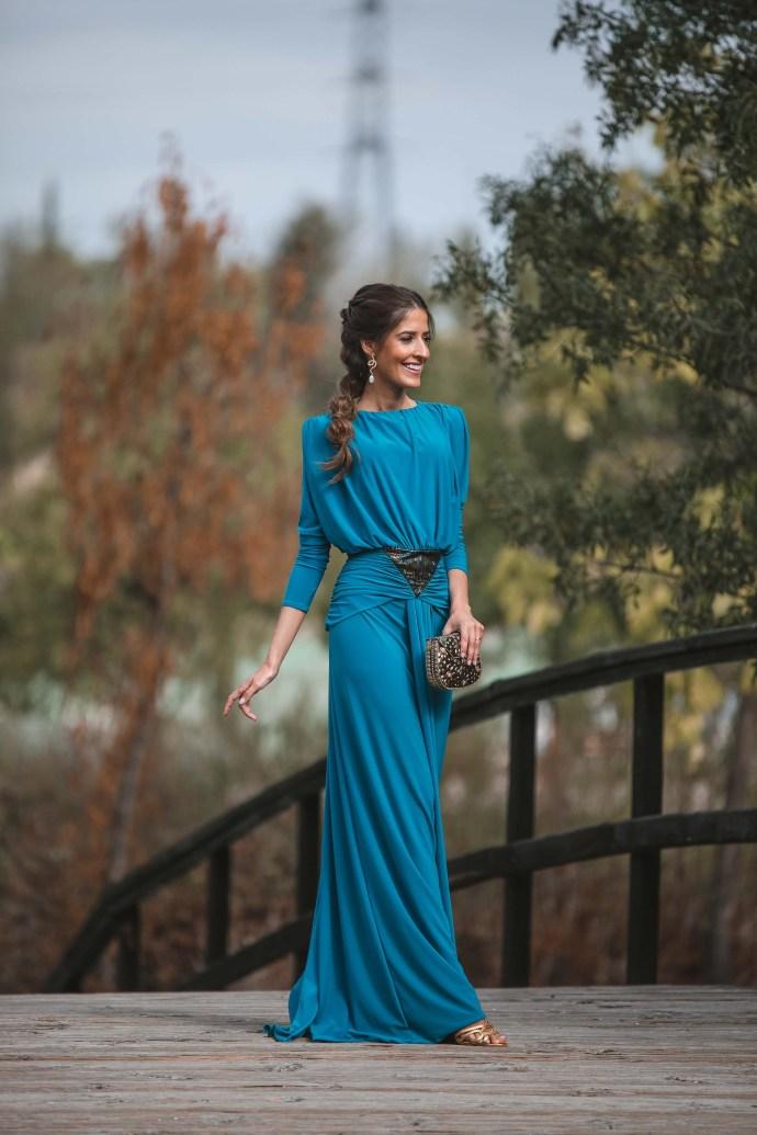 vestido azul griego invitadisima