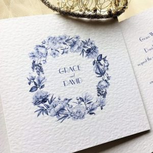 Blue Botanical Wedding Invitations