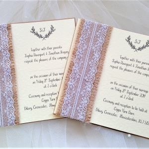 Burlap and Lace Square Invites