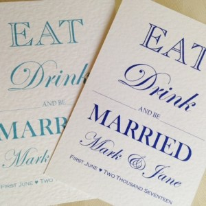 Eat Drink and Be Married Postcard Invites