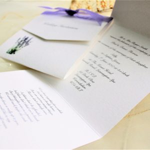 Lavender Tri Fold Wedding Invites