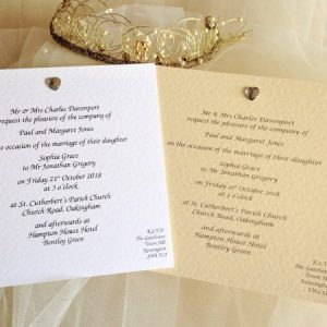 Diamante Heart Square Wedding Invites