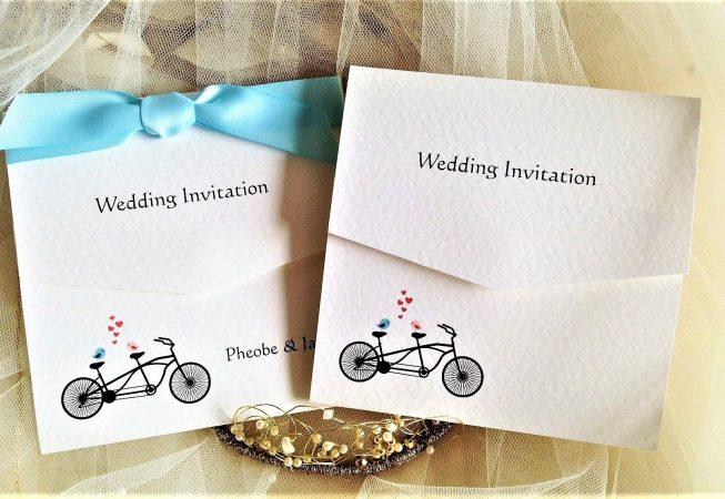 Tandem Bike Tri Fold Wedding Invites