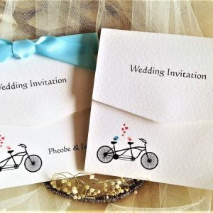 Tandem Bike Tri Fold Wedding Invites