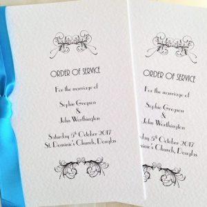 Small Art Deco Wedding Order of Service Books