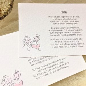 Bride and Groom Guest Information Cards