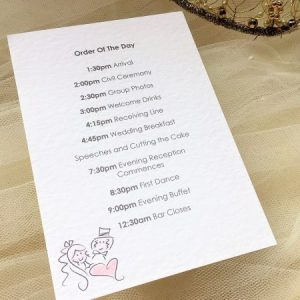 Bride and Groom Wedding Order of Day Cards