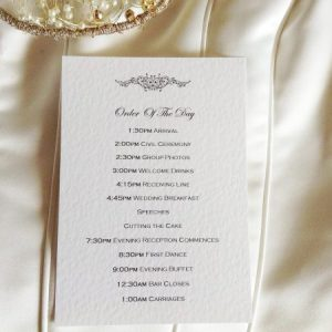 Motif Wedding Order of Day Cards