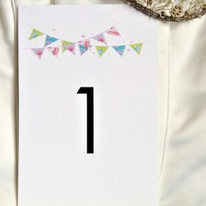 Summer Bunting Table Name and Table Number Cards