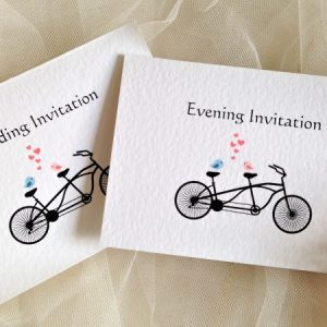 Tandem Bike Top Fold Wedding Invitations
