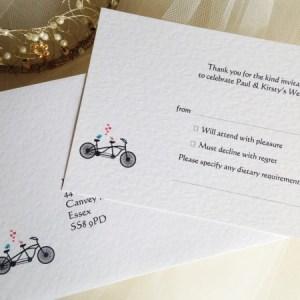 Tandem Bike RSVP Cards and Envelopes
