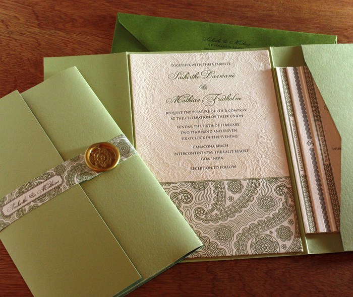 Invitation Set In Folder Tiered Cards With Belly Band And Wax Seal