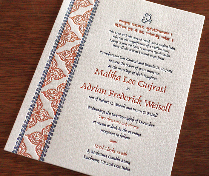 Jasmin Letterpress Wedding Invitation Design Indian Card
