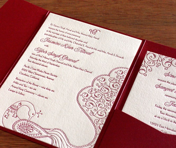 Asian Themed Double Happiness Wedding Invitation Card