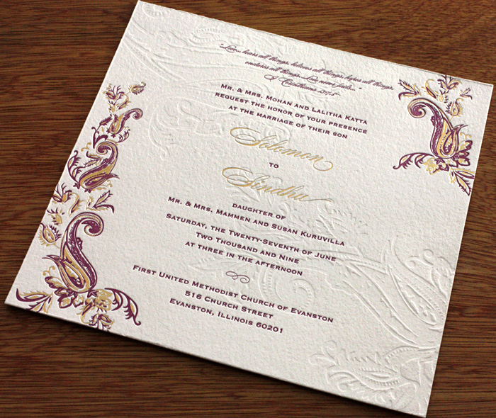 Foil Indian Wedding Card Design With Blind