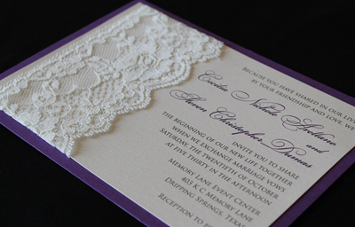 Purple Shimmer And Lace Invitation Wedding Invitations