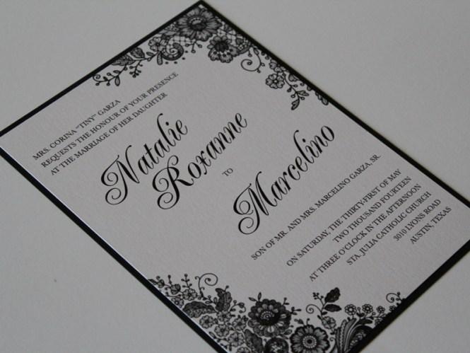 Layered Lace Print Custom Wedding Invitation