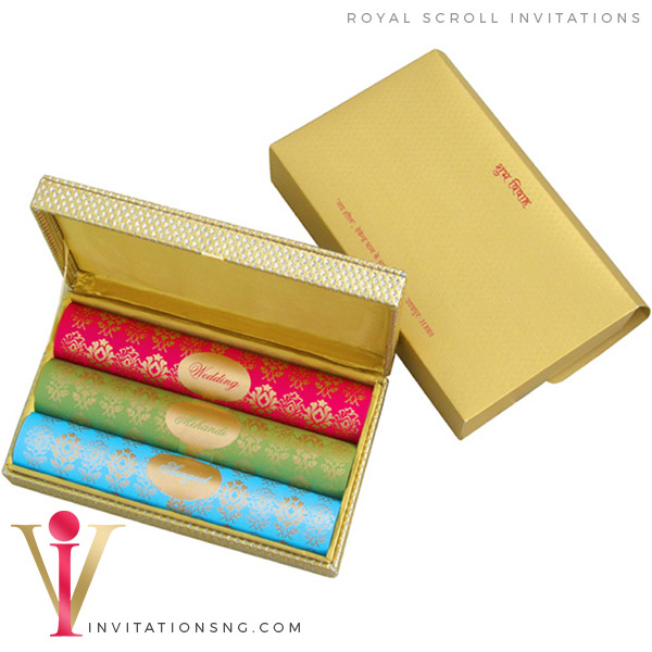Boxed Invitation Scroll Invitation D4370 at invitationsng.com