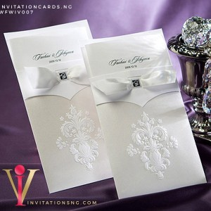 Regal Couture Wedding Invitation Card with ribbon WFWIV007 is now available at invitationsng.com. Call 08173093902