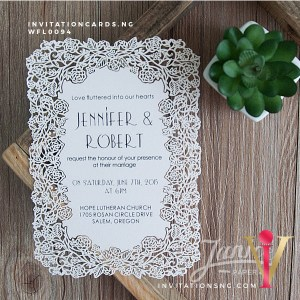 Flat Laser Cut Invitation Card WFL0094 is now available at invitationsng.com. Call 08173093902
