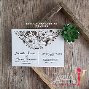 Flat Laser Cut Invitation Card WFL0096 is now available at invitationsng.com. Call 08173093902