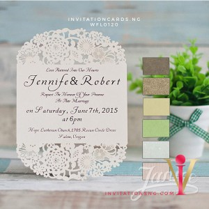 Flat Laser Cut Invitation Card WFL0120 is now available at invitationsng.com. Call 08173093902