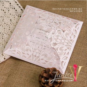 Blush Pink Floral Lace Laser Cut Invitation Card WFL0088 is now available at invitationsng.com. Call 08173093902