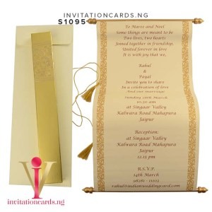 Indian Scroll Invitation S1093 now available in Nigeria at invitationsng.com