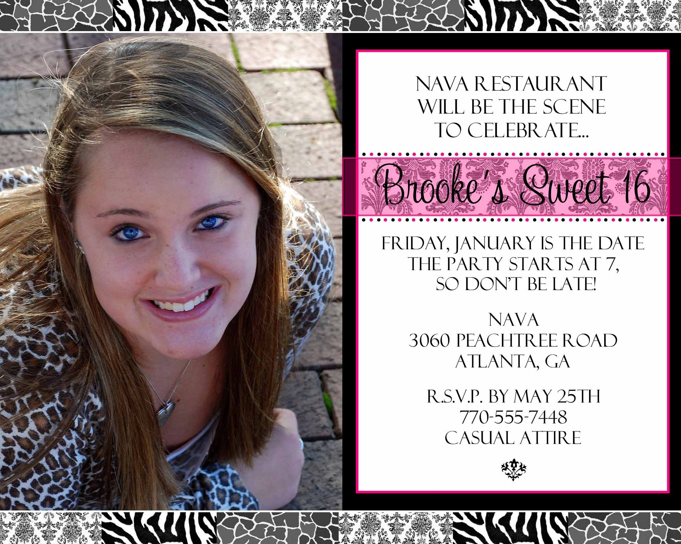 sweet sixteen invitation invitation templates
