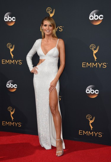 Heidi Klum arrives at the 68th Primetime Emmy Awards on Sunday, Sept. 18, 2016, at the Microsoft Theater in Los Angeles. (Photo by Jordan Strauss/Invision/AP)