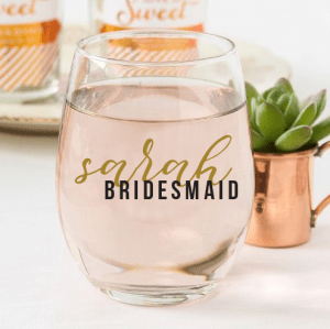 Bridesmaid Stemless Glasses