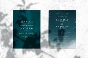 Save the date wedding invitation card mockup