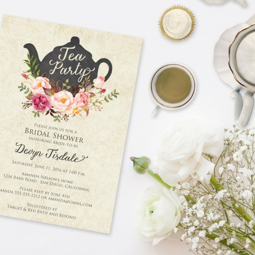 Picture A Vintage Tea With Beautiful Teacups And Scones Very Proper Dainty Indeed The Party Begins These Elegant Invitations