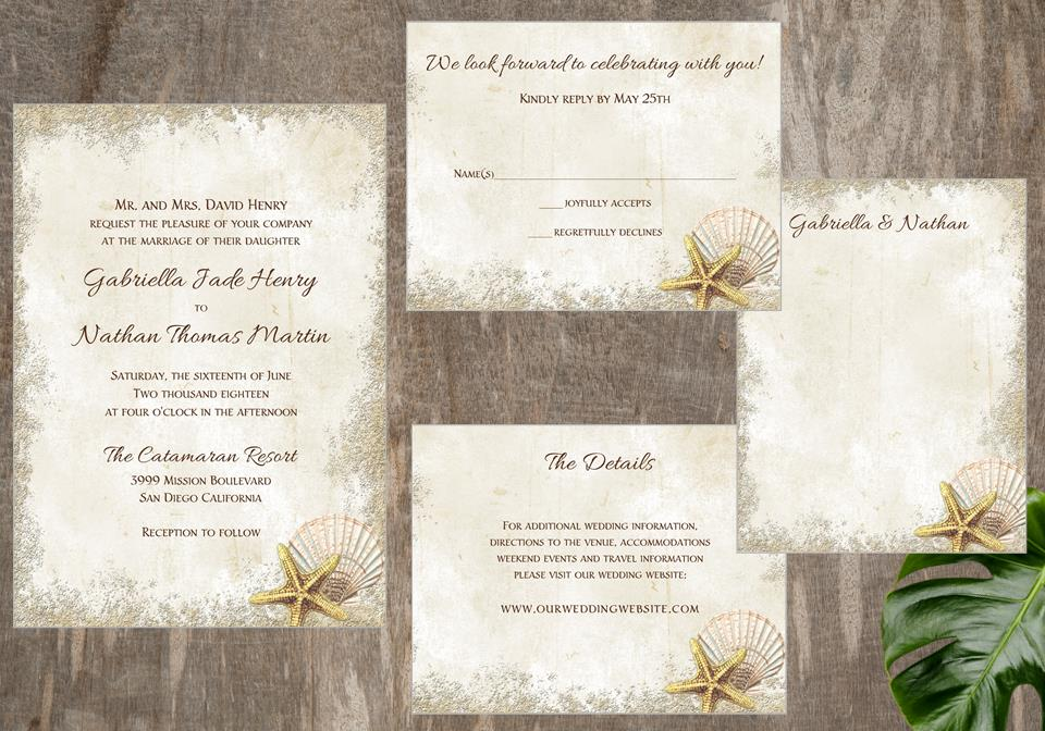 Sand and Seashell Beach Wedding Invitation