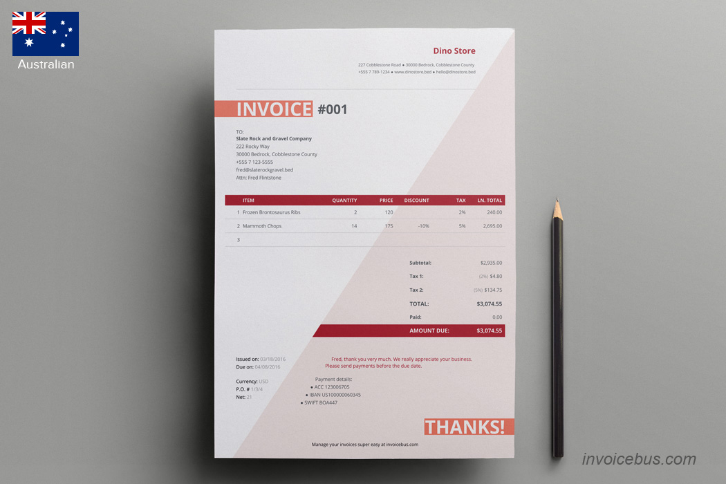images for australian invoice template