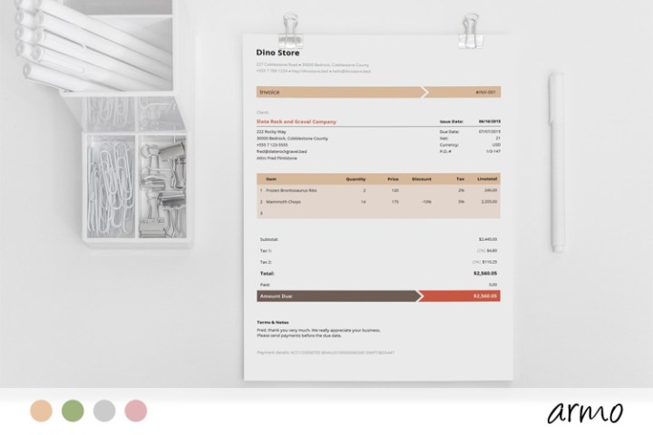Business Invoice Template   Armo Armo is an easy to use invoice template with elegant  simple