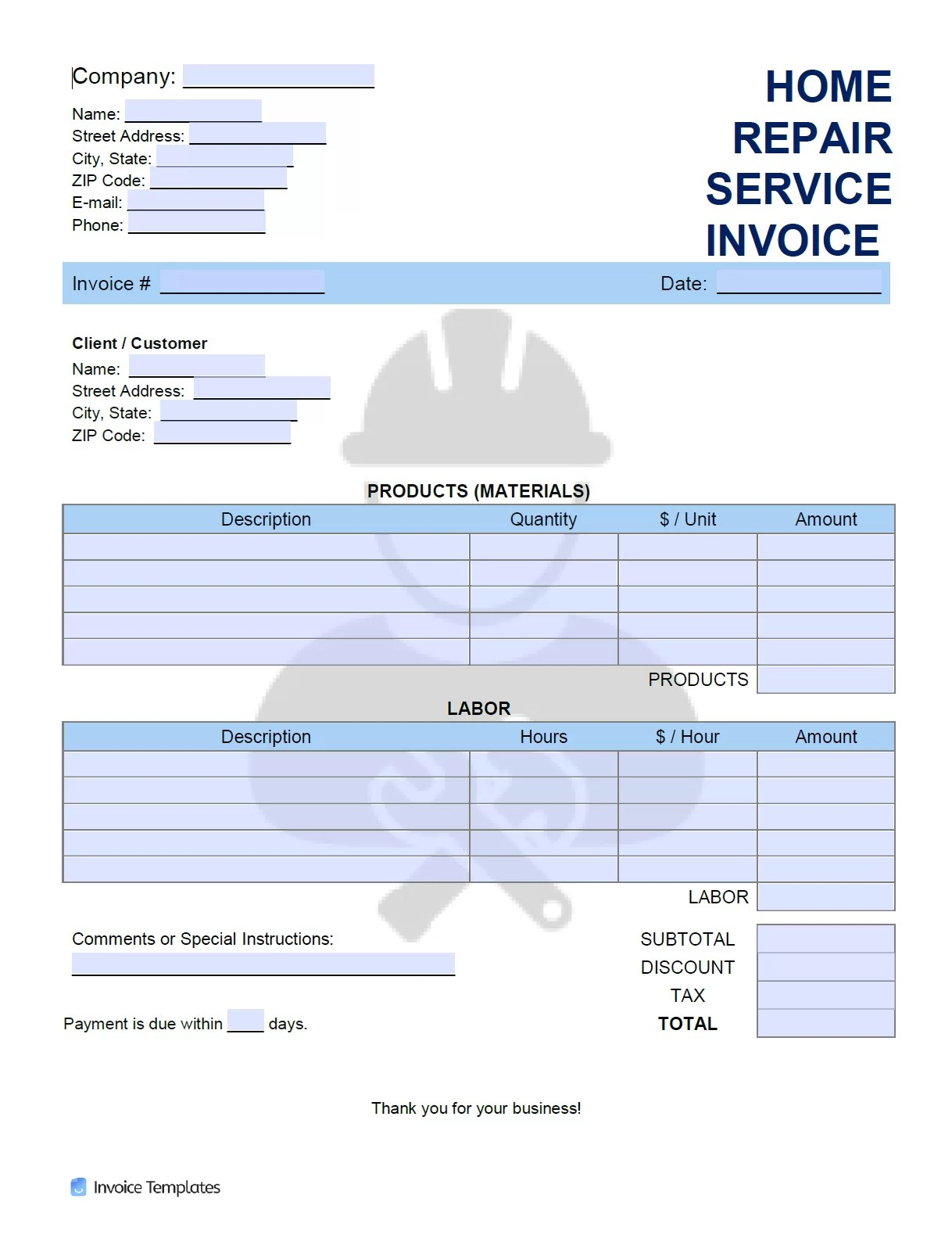 Free Home Repair Service Invoice Template